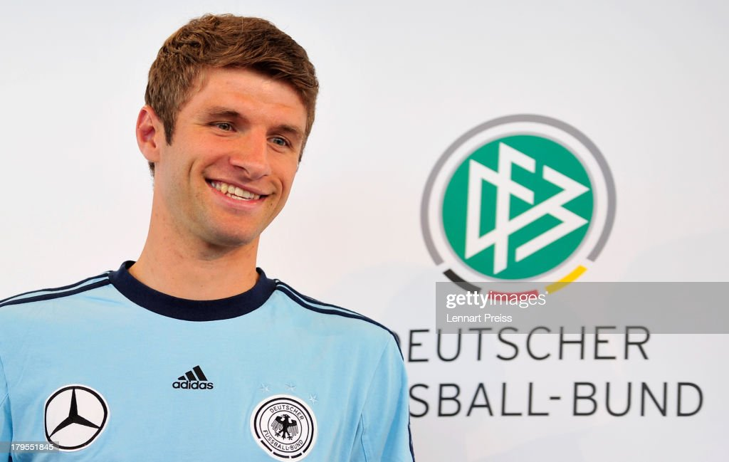 Thomas Mueller of Germany attends a press conference ahead of their FIFA World Cup qualifier against Austria, at the Mercedes Benz Center on September 5, 2013 in Munich, Germany.