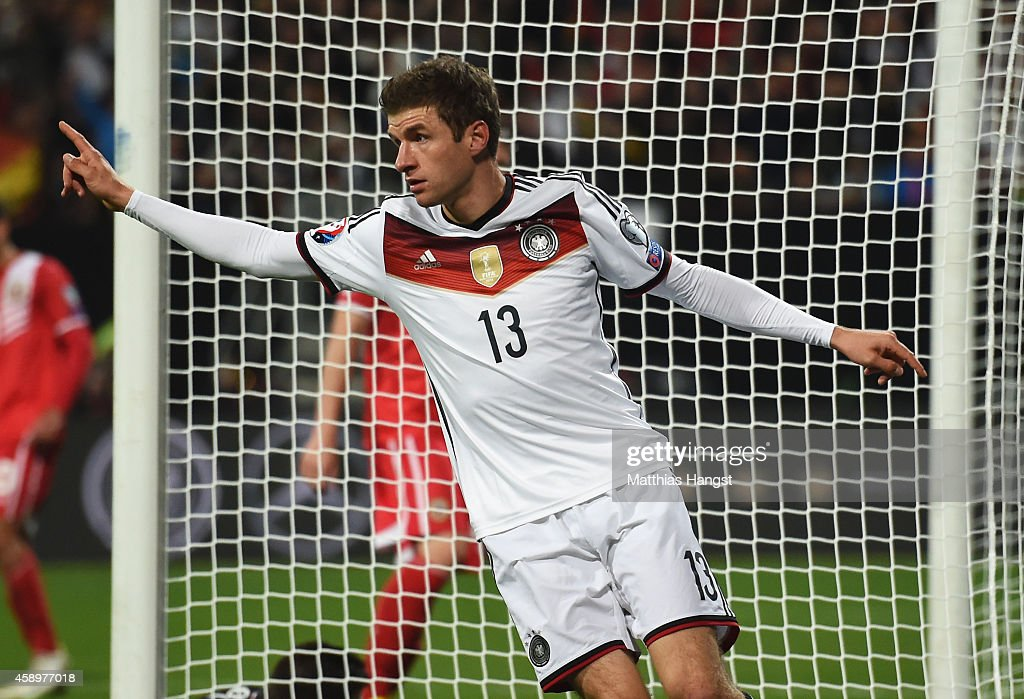 Thomas Mueller of Germany celebrates scoring his team's second goal during the EURO 2016 Group D Qualifier match between Germany and Gibraltar at...