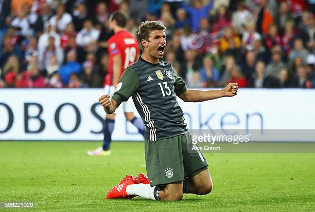 Thomas Mueller of Germany celebrates scoring his team's third goal during the 2018 FIFA World Cup Qualifier Group C match between Norway and Germany...