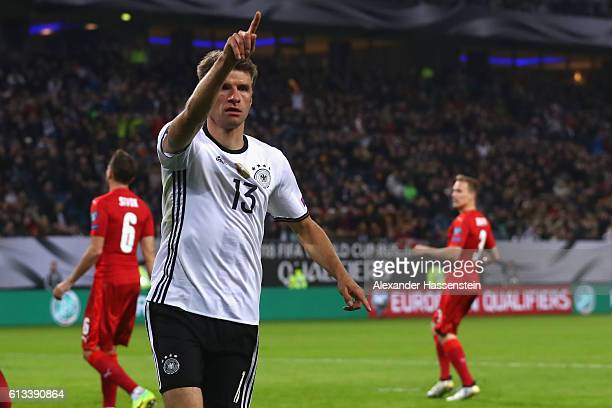 Thomas Mueller of Germany celebrates scoring the 3rd goal during the 2018 FIFA World Cup Qualifier match between Germany and Czech Republic at...