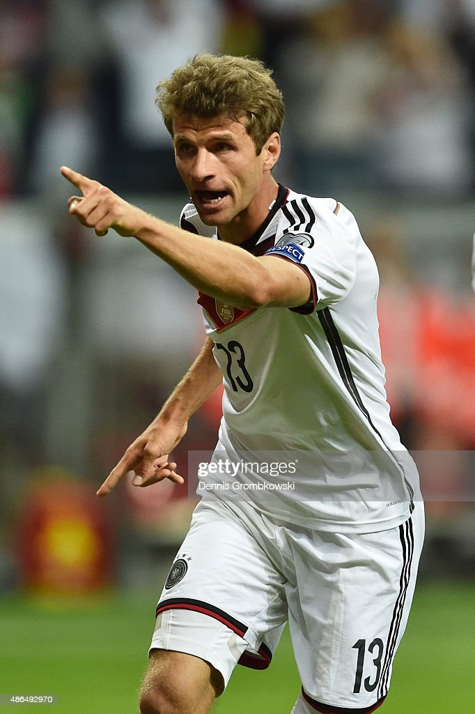 Thomas Mueller of Germany celebrates scoring the opening goal during the EURO 2016 Qualifier Group D match between Germany and Poland at Commerzbank-Arena on September 4, 2015 in Frankfurt am Main, Germany.