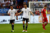 Thomas Mueller of Germany celebrates the second goal with Mesut Oezil of Germany during the International Friendly match between Germany and Hungary...