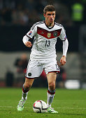 Thomas Mueller of Germany controles the ball during the EURO 2016 Qualifier between Germany and Gibraltar and GrundigStadion on November 14 2014 in...
