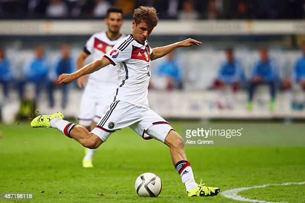 Thomas Mueller of Germany controles the ball during the EURO 2016 Qualifier between Germany and Poland at CommerzbankArena on September 4 2015 in...