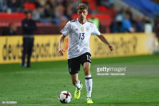 Thomas Mueller of Germany controles the ball during the FIFA World Cup Russia 2018 Group C Qualifier between Czech Republic and Germany at Eden Arena...