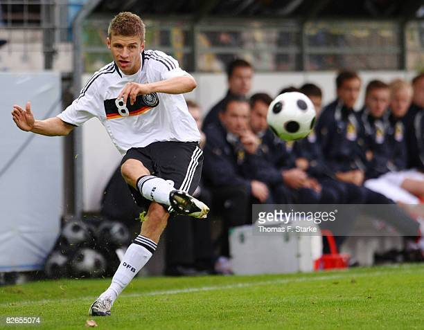 Thomas Mueller of Germany crosses the ball during the men's U20 International friendly match between Germany and Austria at the Heidewald stadium on...