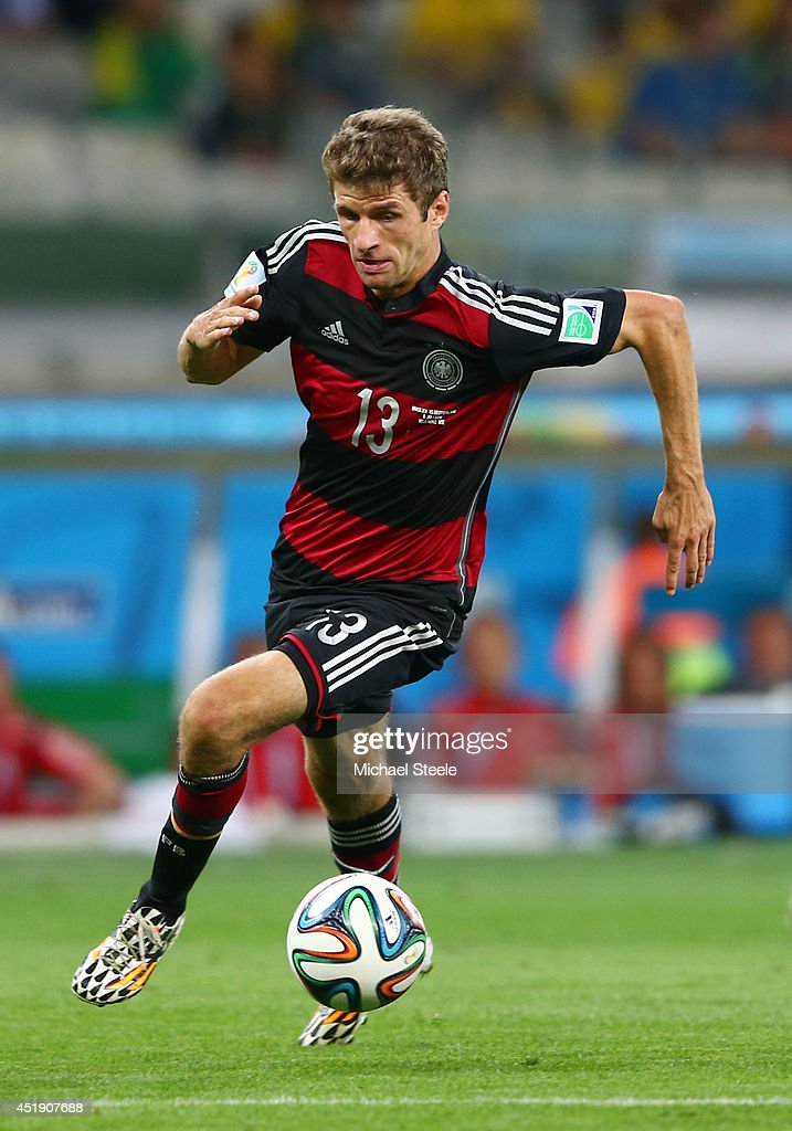 Thomas Mueller of Germany during the 2014 FIFA World Cup Brazil Semi Final match between Brazil and Germany at Estadio Mineirao on July 8, 2014 in Belo Horizonte, Brazil.