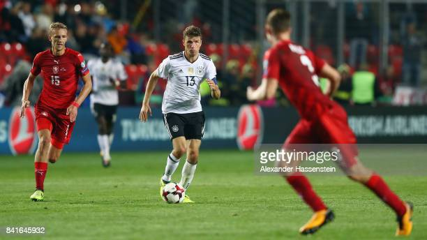 Thomas Mueller of Germany eludes Tomas Soucek of Czech Republik during the FIFA World Cup Russia 2018 Group C Qualifier between Czech Republic and...