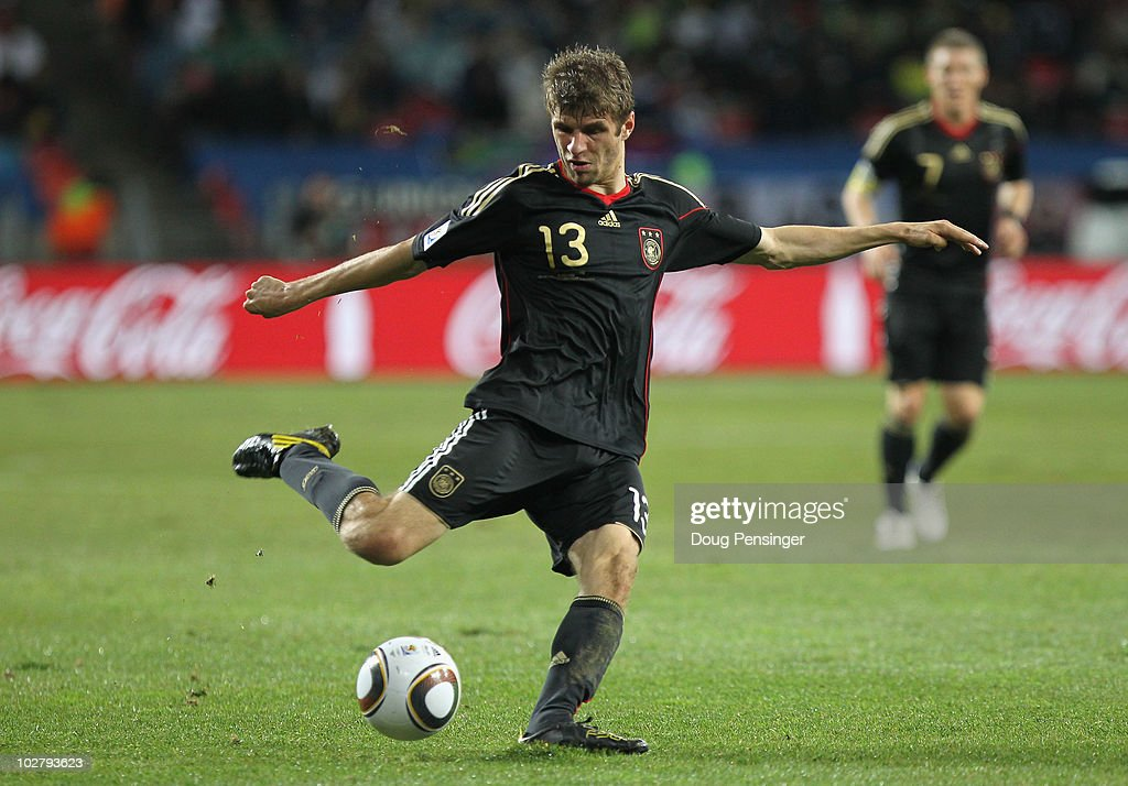 Thomas Mueller of Germany in action during the 2010 FIFA World Cup South Africa Third Place Play-off match between Uruguay and Germany at The Nelson Mandela Bay Stadium on July 10, 2010 in Port Elizabeth, South Africa.