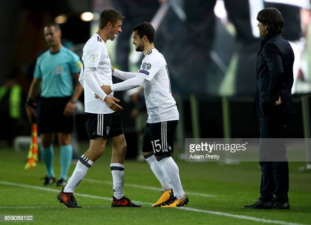 Thomas Mueller of Germany is replaced by Amin Younes during the FIFA 2018 World Cup Qualifier between Germany and Azerbaijan at FritzWalterStadion on...