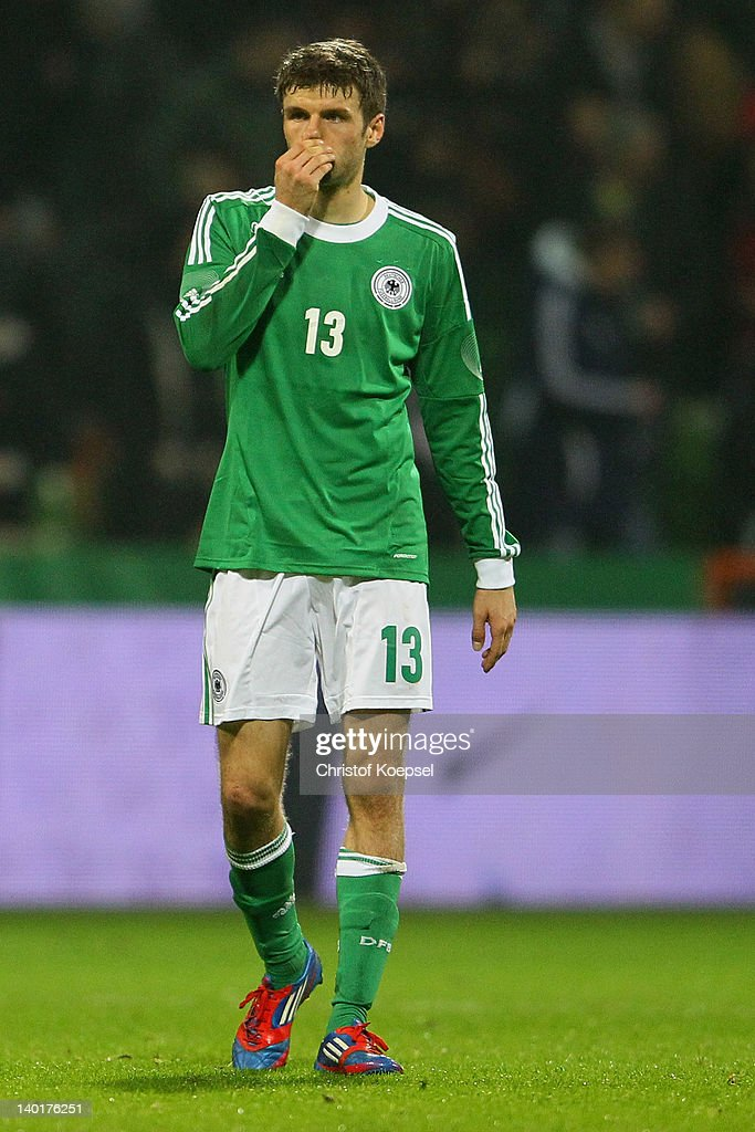 Thomas Mueller of Germany looks dejected after losing 1-2 the International friendly match between Germany and France at Weser Stadium on February 29, 2012 in Bremen, Germany.