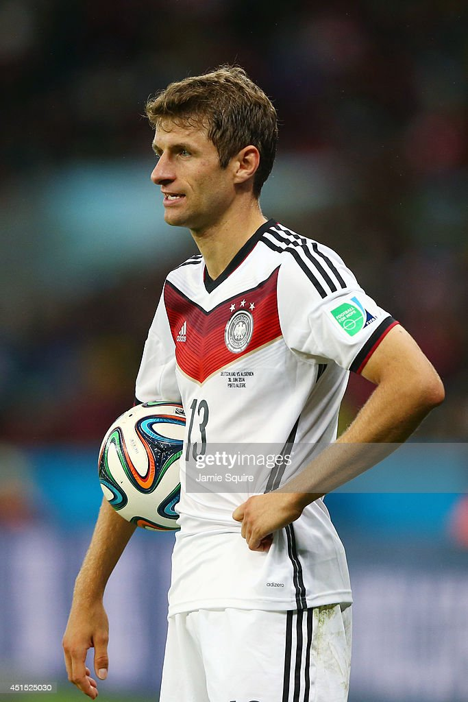Thomas Mueller of Germany looks on during the 2014 FIFA World Cup Brazil Round of 16 match between Germany and Algeria at Estadio Beira-Rio on June 30, 2014 in Porto Alegre, Brazil.