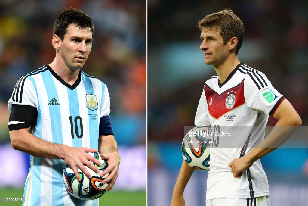 IMAGES - Image Numbers 451925716 (L) and 451525030) In this composite image a comparison has been made between Lionel Messi of Argentina and Thomas Mueller of Germany. Germany and Argentina play each other in the 2014 FIFA World Cup Brazil Final on July 13, 2014 in the Maracana Stadium in Rio De Janeiro,Brazil. PORTO ALEGRE, BRAZIL - JUNE 30: Thomas Mueller of Germany looks on during the 2014 FIFA World Cup Brazil Round of 16 match between Germany and Algeria at Estadio Beira-Rio on June 30, 2014 in Porto Alegre, Brazil.