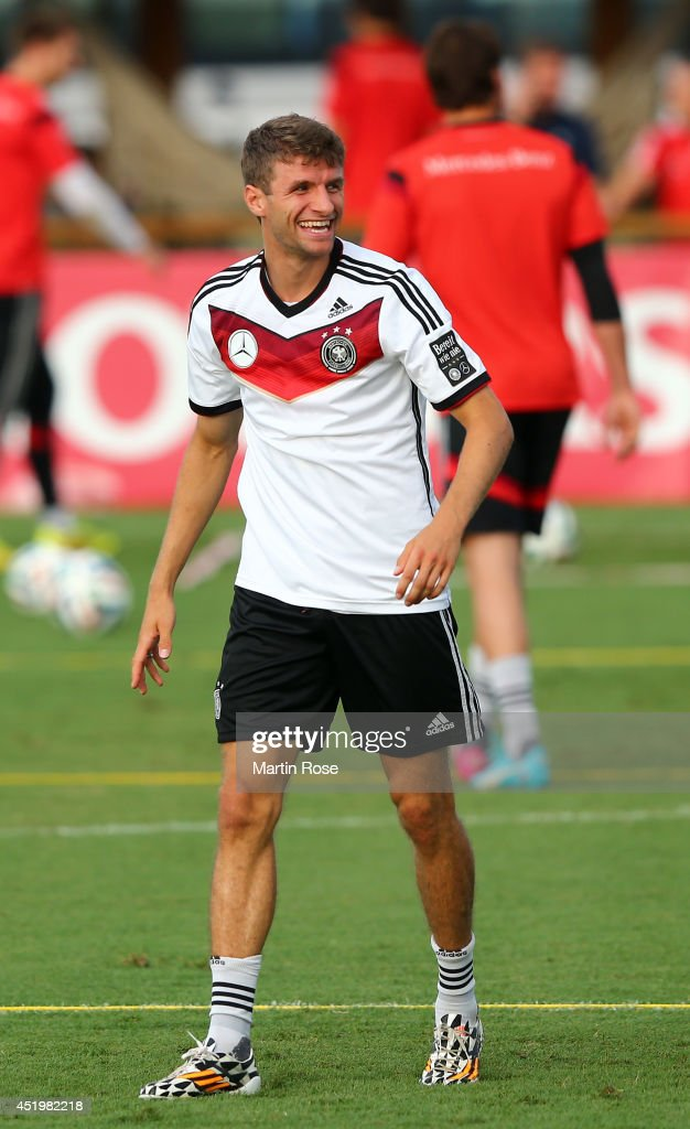 Thomas Mueller of Germany looks on during the German national team training session at Campo Bahia on July 10, 2014 in Santo Andre, Brazil.