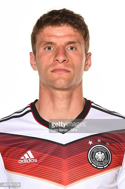 Thomas Mueller of Germany poses during the official FIFA World Cup 2014 portrait session on June 8 2014 in Salvador Brazil