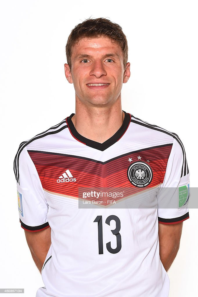 Thomas Mueller of Germany poses during the official FIFA World Cup 2014 portrait session on June 8, 2014 in Salvador, Brazil.