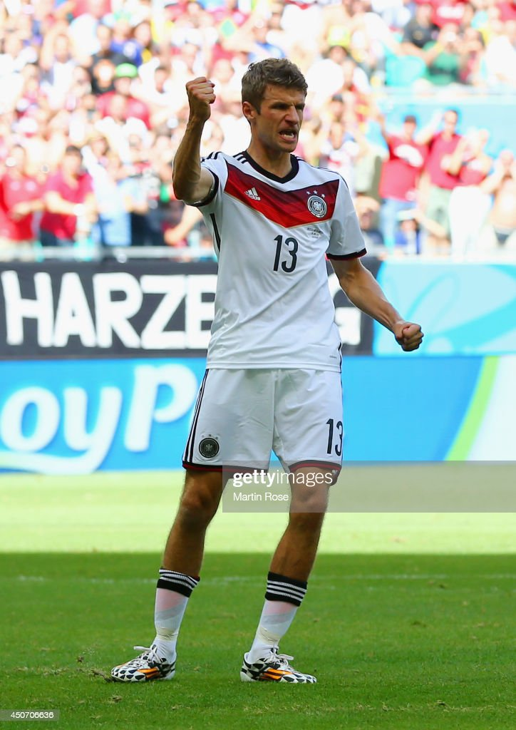 Thomas Mueller of Germany reacts after scoring his team's first goal on a penalty kick during the 2014 FIFA World Cup Brazil Group G match between Germany and Portugal at Arena Fonte Nova on June 16, 2014 in Salvador, Brazil.