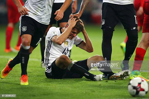 Thomas Mueller of Germany reacts during the FIFA World Cup 2018 qualifying match between Germany and Czech Republic at Volksparkstadion on October 8...