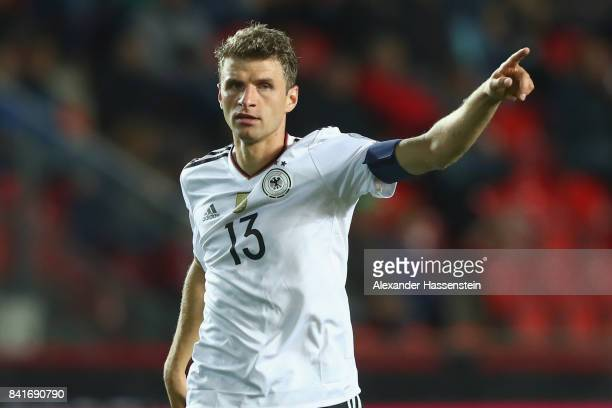 Thomas Mueller of Germany reacts during the FIFA World Cup Russia 2018 Group C Qualifier between Czech Republic and Germany at Eden Arena on...