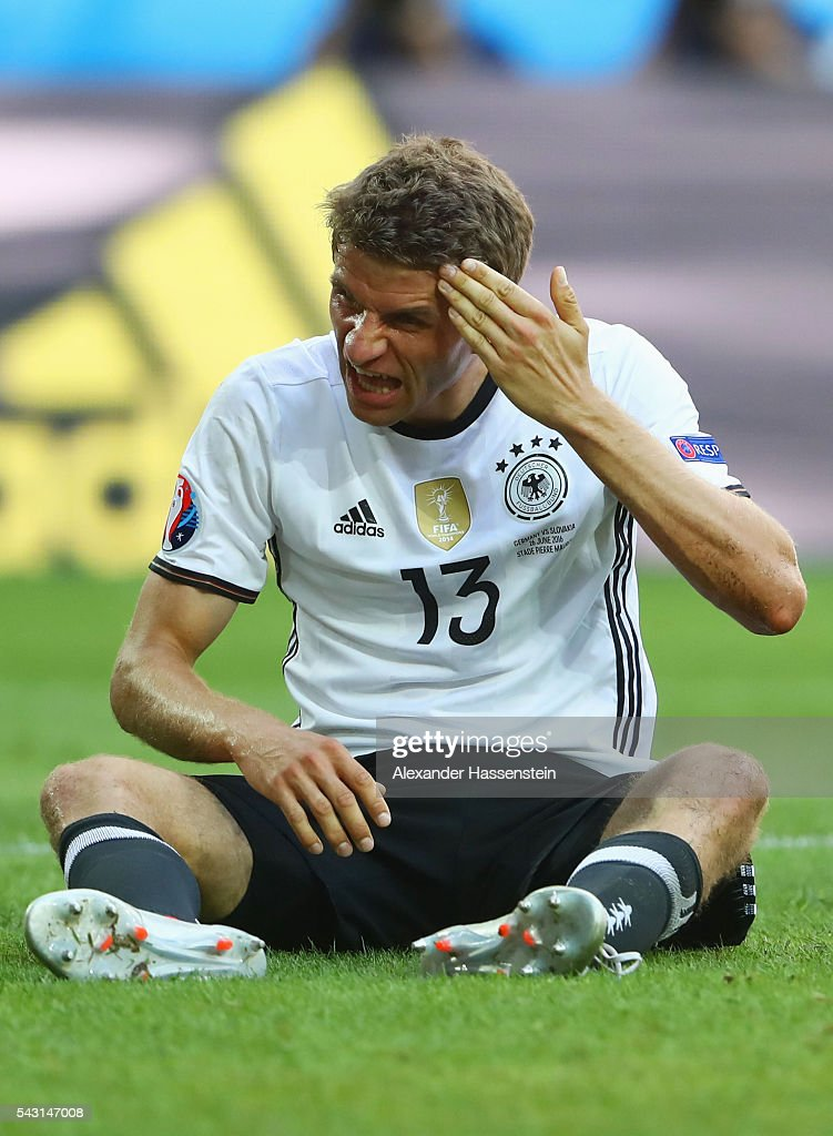 Thomas Mueller of Germany reacts during the UEFA EURO 2016 round of 16 match between Germany and Slovakia at Stade Pierre-Mauroy on June 26, 2016 in Lille, France.