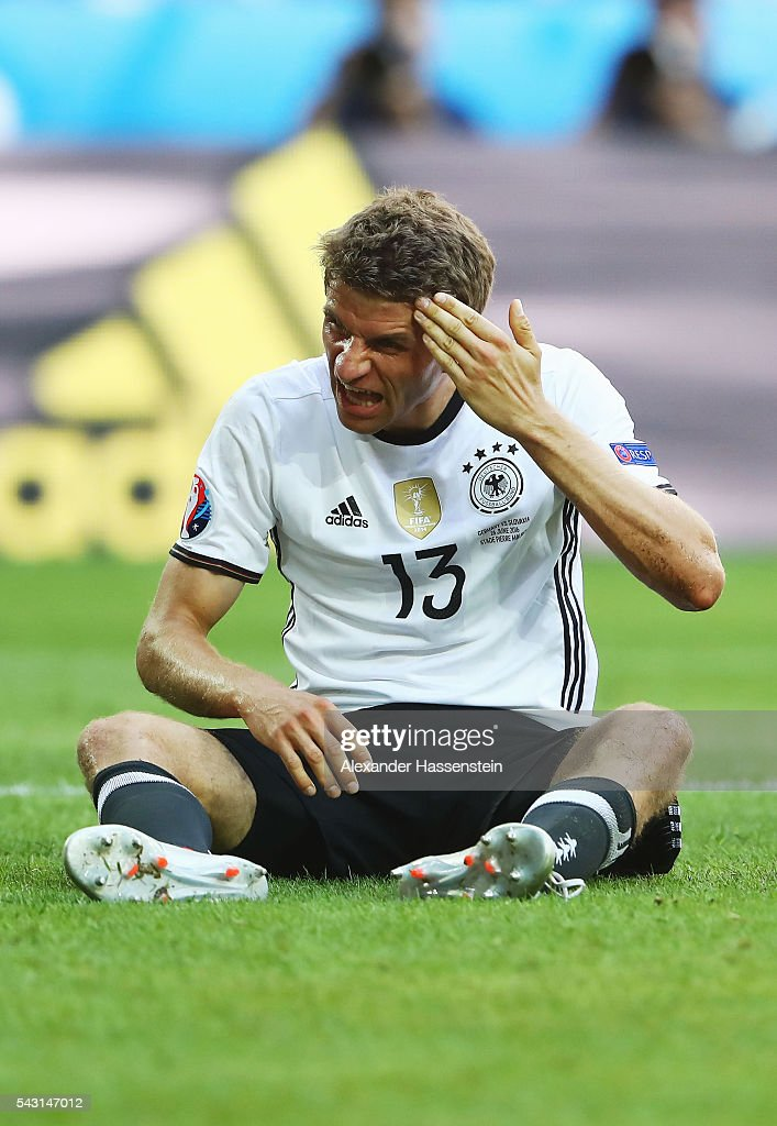 <a gi-track='captionPersonalityLinkClicked' href=/galleries/search?phrase=Thomas+Mueller&family=editorial&specificpeople=5842906 ng-click='$event.stopPropagation()'>Thomas Mueller</a> of Germany reacts during the UEFA EURO 2016 round of 16 match between Germany and Slovakia at Stade Pierre-Mauroy on June 26, 2016 in Lille, France.