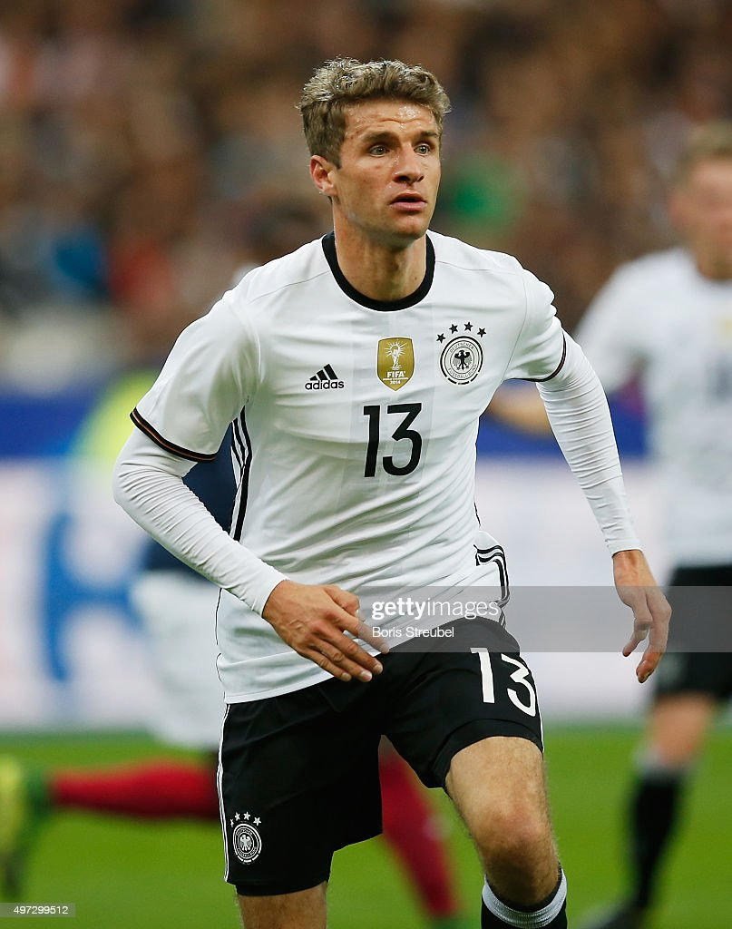 Thomas Mueller of Germany runs during the International Friendly match between France and Germany at the Stade de France on November 13 2015 in Paris...