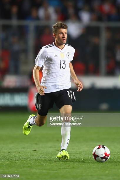 Thomas Mueller of Germany runs with the ball during the FIFA World Cup Russia 2018 Group C Qualifier between Czech Republic and Germany at Eden Arena...