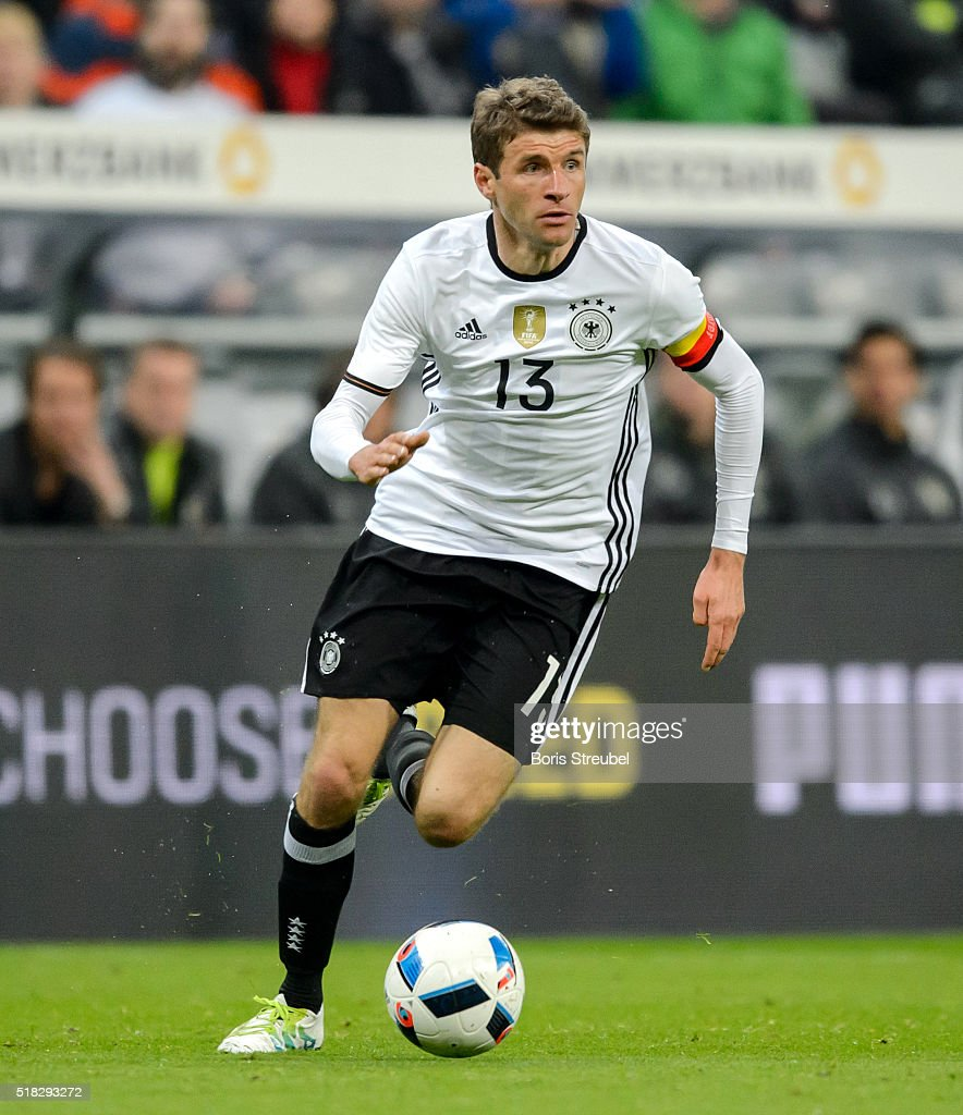 Thomas Mueller of Germany runs with the ball during the International Friendly match between Germany and Italy at Allianz Arena on March 29 2016 in...