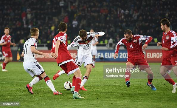 Thomas Mueller of Germany scores his team's second goal during the EURO 2016 Group D Qualifier match between Georgia and Germany at Boris Paichadze...