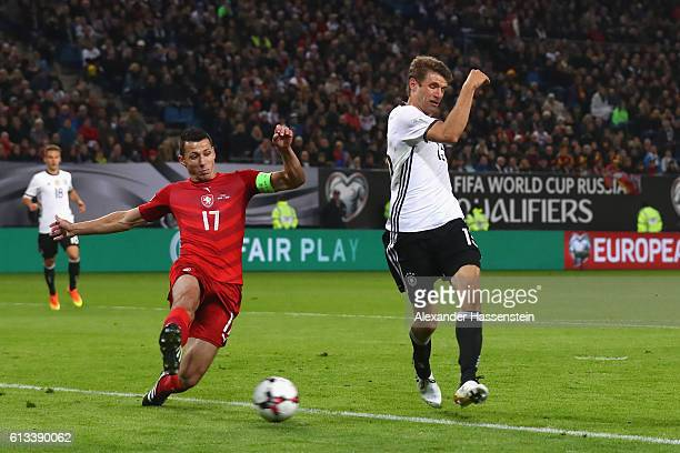 Thomas Mueller of Germany scores the 3rd goal against Marek Suchy during the 2018 FIFA World Cup Qualifier match between Germany and Czech Republic...