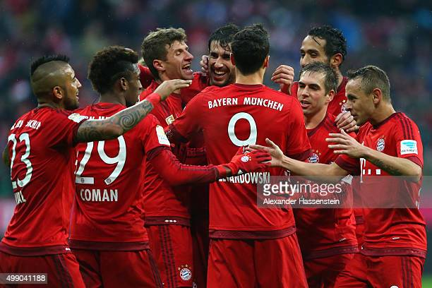 Thomas Mueller of Muenchen celebrate with his team mates the second team goal during the Bundesliga match between FC Bayern Muenchen and Herha BSC...