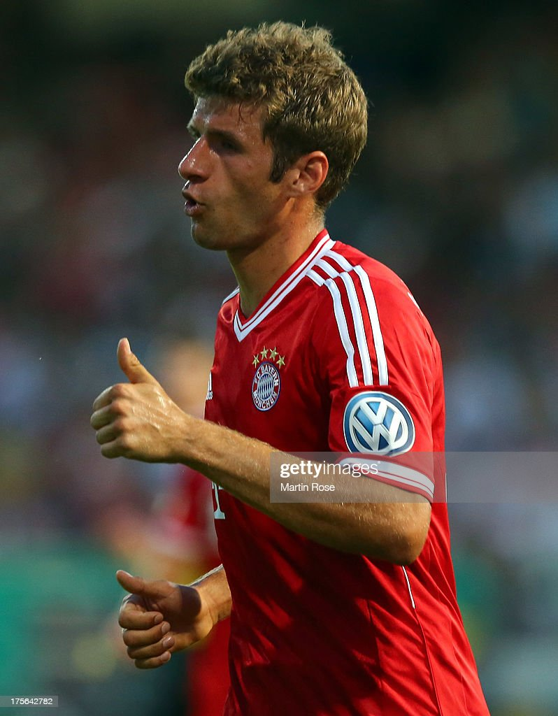 Thomas Mueller of Muenchen celebrates after he scores his team's 2nd goal the DFB Cup first round match between BSV SW Rehden and Bayern Muenchen at osnatel Arena on August 5, 2013 in Osnabrueck, Germany.