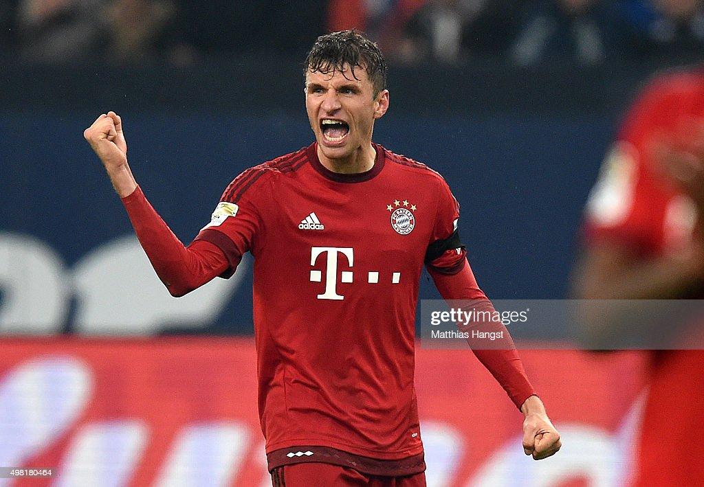 Thomas Mueller of Muenchen celebrates after the Bundesliga match between FC Schalke 04 and FC Bayern Muenchen at Veltins-Arena on November 21, 2015 in Gelsenkirchen, Germany.