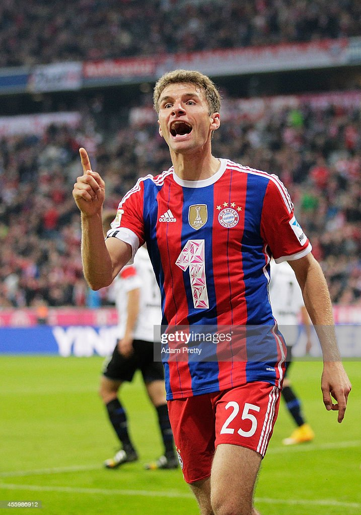Thomas Mueller of Muenchen celebrates scoring a goal during the Bundesliga match between FC Bayern Muenchen and SC Paderborn 07 at Allianz Arena on...