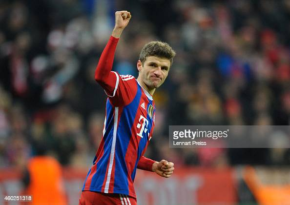 Thomas Mueller of Muenchen celebrates scoring the opening goal during the UEFA Champions League Group E match between FC Bayern Muenchen and PFC CSKA...
