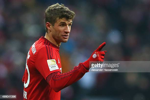 Thomas Mueller of Muenchen celebrates scoring the second team during the Bundesliga match between FC Bayern Muenchen and Herha BSC Berlin at Allianz...