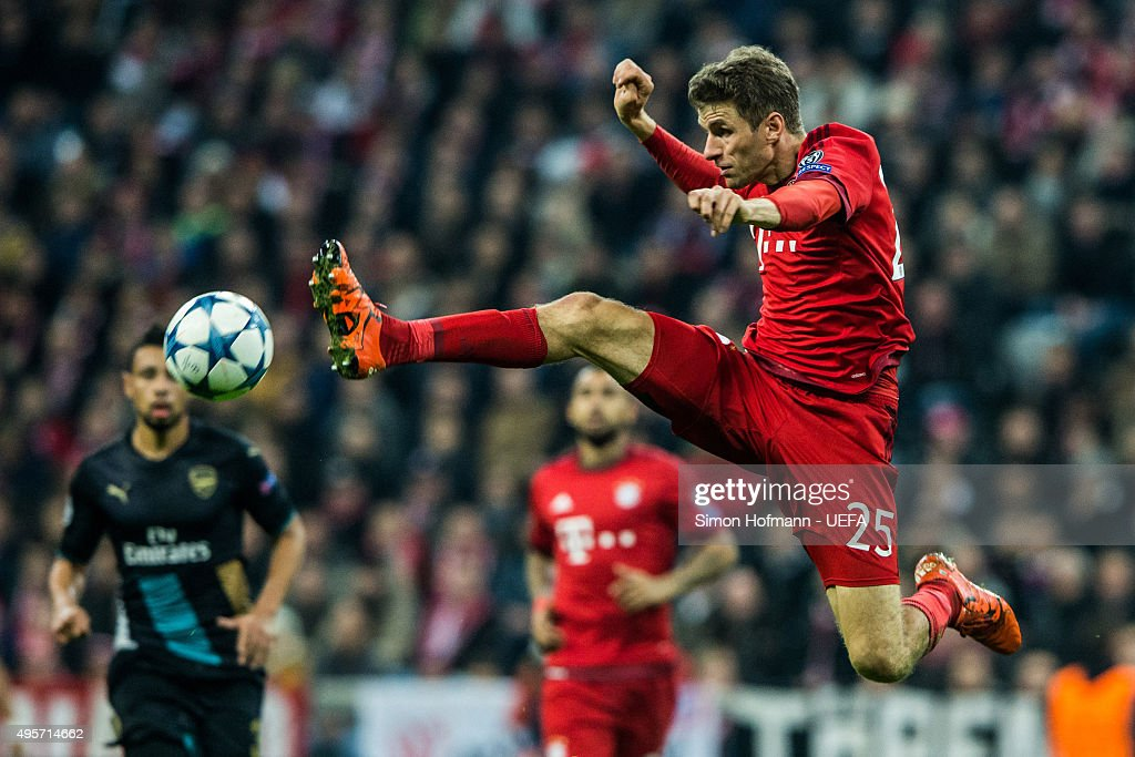 Thomas Mueller of Muenchen controls the ball during the UEFA Champions League match between FC Bayern Muenchen and Arsenal FC at Allianz Arena on November 4, 2015 in Munich, Germany.