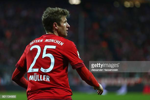 Thomas Mueller of Muenchen looks on during the Bundesliga match between FC Bayern Muenchen and FC Ingolstadt at Allianz Arena on December 12 2015 in...