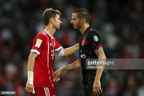 Thomas Mueller of Muenchen passing Leonardo Bonucci of AC Milan of during the 2017 International Champions Cup China match between FC Bayern and AC...