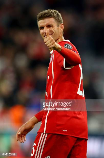 Thomas Mueller of Muenchen reacts after the UEFA Champions League group B match between Bayern Muenchen and RSC Anderlecht at Allianz Arena on...
