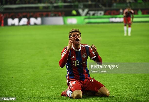 Thomas Mueller of Muenchen reacts during the Bundesliga match between VfL Wolfsburg and FC Bayern Muenchen at Volkswagen Arena on January 30 2015 in...
