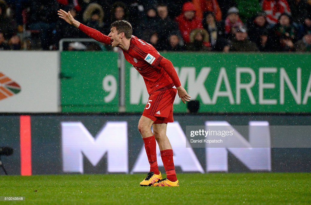 <a gi-track='captionPersonalityLinkClicked' href=/galleries/search?phrase=Thomas+Mueller&family=editorial&specificpeople=5842906 ng-click='$event.stopPropagation()'>Thomas Mueller</a> of Muenchen reacts during the Bundesliga match between FC Ausgburg and FC Bayern Muenchen at SGL Arena on February 14, 2016 in Augsburg, Germany.
