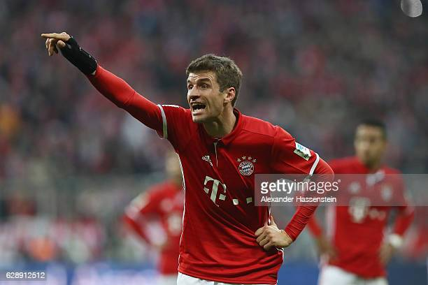 Thomas Mueller of Muenchen reacts during the Bundesliga match between Bayern Muenchen and VfL Wolfsburg at Allianz Arena on December 10 2016 in...
