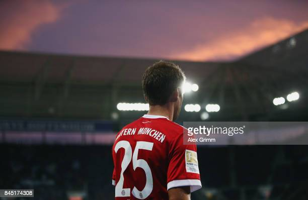 Thomas Mueller of Muenchen reacts during the Bundesliga match between TSG 1899 Hoffenheim and FC Bayern Muenchen at Wirsol RheinNeckarArena on...