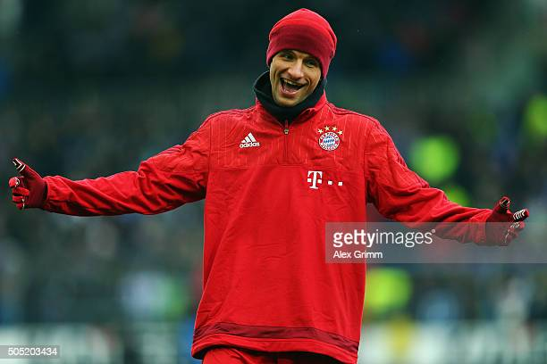 Thomas Mueller of Muenchen reacts prior to a friendly match between Karlsruher SC and FC Bayern Muenchen at Wildpark Stadium on January 16 2016 in...
