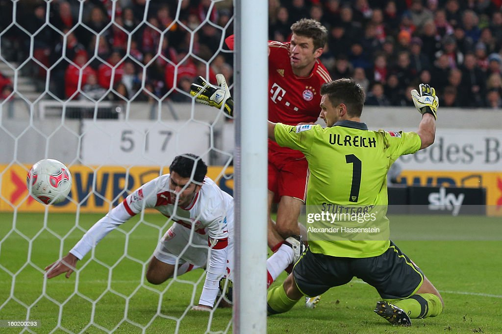 <a gi-track='captionPersonalityLinkClicked' href=/galleries/search?phrase=Thomas+Mueller&family=editorial&specificpeople=5842906 ng-click='$event.stopPropagation()'>Thomas Mueller</a> (C) of Muenchen scores the 2nd team goal against <a gi-track='captionPersonalityLinkClicked' href=/galleries/search?phrase=Sven+Ulreich&family=editorial&specificpeople=4877030 ng-click='$event.stopPropagation()'>Sven Ulreich</a>, keeper of Stuttgart and his team mate <a gi-track='captionPersonalityLinkClicked' href=/galleries/search?phrase=Serdar+Tasci&family=editorial&specificpeople=787688 ng-click='$event.stopPropagation()'>Serdar Tasci</a> (C) during the Bundesliga match between VfB Stuttgart and FC Bayern Muenchen at Mercedes-Benz Arena on January 27, 2013 in Stuttgart, Germany.