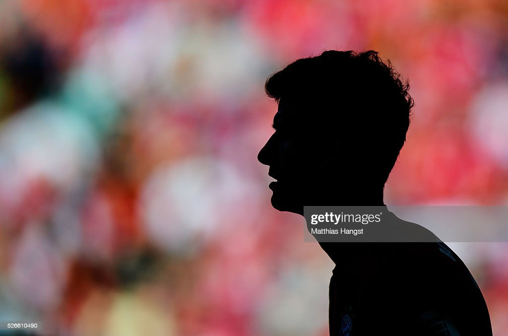 <a gi-track='captionPersonalityLinkClicked' href=/galleries/search?phrase=Thomas+Mueller&family=editorial&specificpeople=5842906 ng-click='$event.stopPropagation()'>Thomas Mueller</a> of Muenchen seen during the Bundesliga match between FC Bayern Muenchen and Borussia Moenchengladbach at Allianz Arena on April 30, 2016 in Munich, Germany.