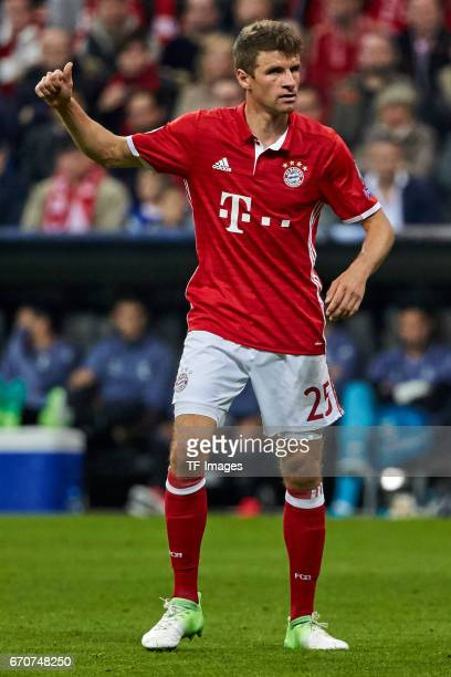 Thomas Mueller of Munich gestures during the UEFA Champions League Quarter Final first leg match between FC Bayern Muenchen and Real Madrid CF at...