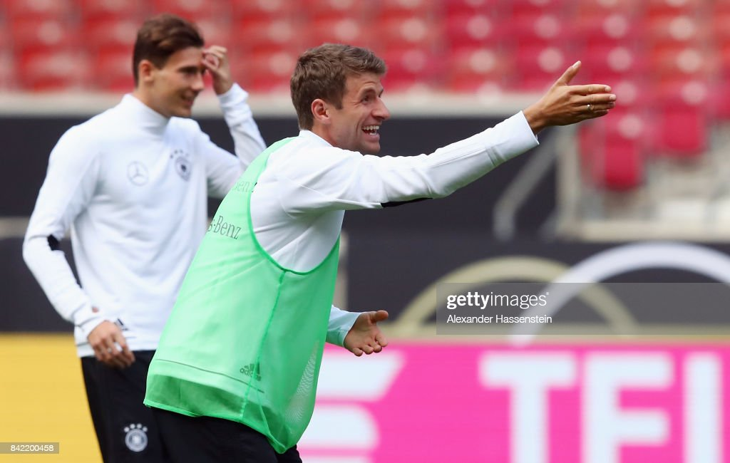 Thomas Mueller reacts during a Germany training session at Mercedes-Benz-Arena ahead of their FIFA World Cup Russia 2018 Group C Qualifier against Norway on September 3, 2017 in Stuttgart, Germany.