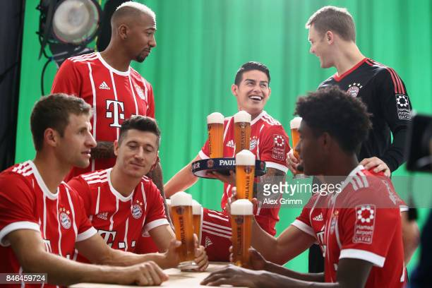 Thomas Mueller Robert Lewandowski Jerome Boateng Robert Lewandowski James Rodriguez David Alaba and Manuel Neuer attend the FC Bayern Muenchen...
